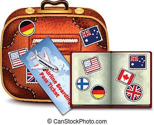 oreja, pasaporte, boleto, línea aérea