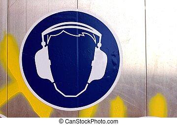 oreja, uso, protección, señal