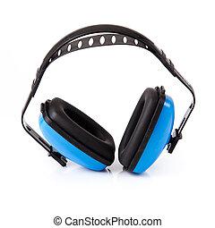 orejeras, blanco, protección, fondo., oído