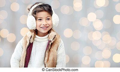 orejeras, poco, encima, vacaciones, luces, niña, feliz