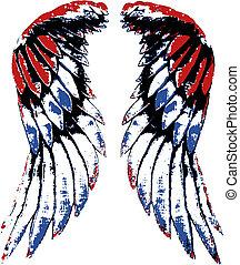 orel, křídlo, usa, portrét