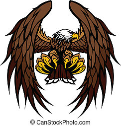 orel, talisman, vektor, křídla, drásat