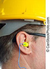 orelha, amarela, earplug