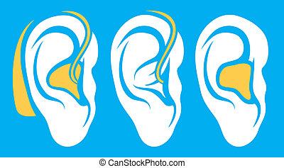 orelha, auxílio auditivo, surdo, problema, ícones