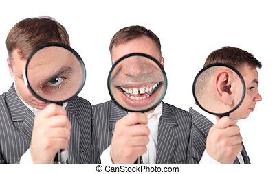 orelha, colagem, businesspeople, boca, magnifier, olho