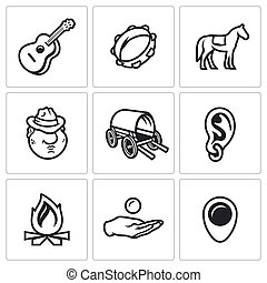 orelha, jogo, cigana, guitarra, mendigo, icons.,...