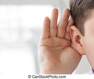 orelha, seu, segura, homem, mão