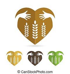 orelhas, ícone, trigo, isole