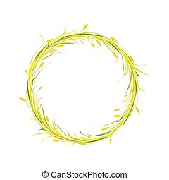 orelhas, coroa, ouro, redondo, lâminas, trigo, grinalda, ou, centeio, grass., cevada, marrom