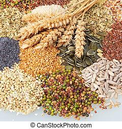 orelhas, sementes, trigo, comestível, variedade