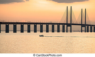 Oresund Bridge at dusk viewed from the Swedish side The ...