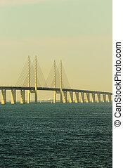 Oresund bridge between Denmark and Sweden.