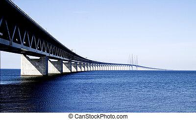 The long and beautiful bridge between Sweden and Denmark called the Øresunds bridge.