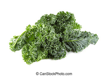 orgánico, aislado, hojas, encima, verde, col rizada, fondo blanco, fresco