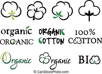 orgánico, algodón, vector, conjunto