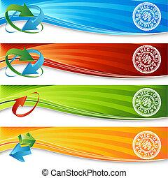 orgánico, bandera, conjunto