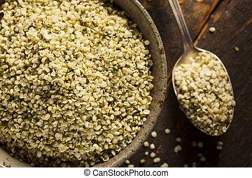 orgánico, cáñamo, semillas, hulled
