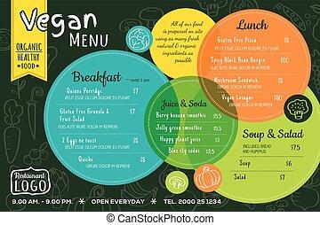 orgánico, colorido, restaurante, alimento, menú, mantel individual, vegetariano, tabla, plantilla, o