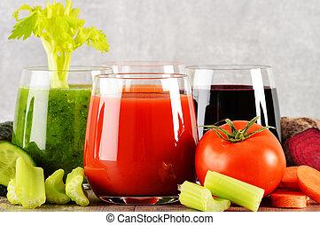 orgánico, de madera, jugos, tabla, vegetal, fresco, anteojos