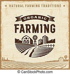 orgánico, etiqueta, agricultura, vendimia