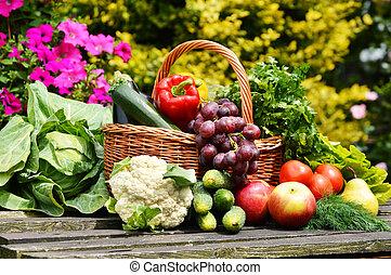 orgánico, jardín, mimbre, vegetales, cesta, fresco
