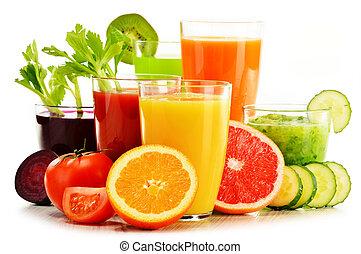orgánico, jugos, fruta, vegetal, fresco, blanco, anteojos