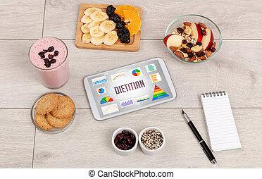 orgánico, pc, tableta, alimento