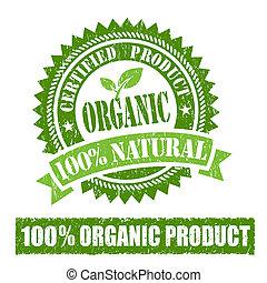 orgánico, producto, sello de goma