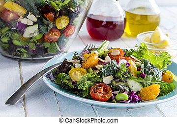 orgánico, súper, alimento, vegetariano, ensalada