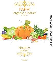 orgánico, vegetales, colección, rústico, plano de fondo, blanco