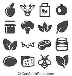 orgânica, ícones, fazenda, set., alimento, vetorial