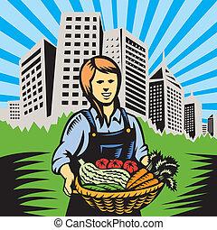 orgânica, agricultor, produto fazenda, colheita