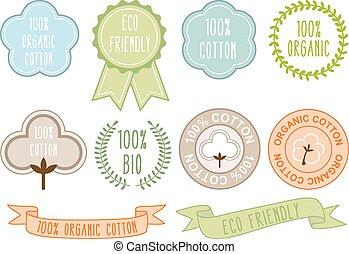 orgânica, algodão, sinais, vetorial, jogo