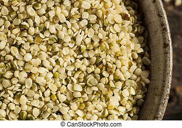 orgânica, cânhamo, sementes, hulled