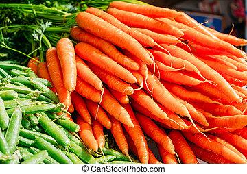 orgânica, cenouras, vegetal, verde, laranja fresca, feijões
