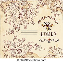 orgânica, etiqueta, mel, produtos, fundo, ou