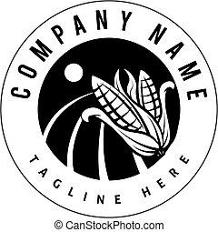 orgânica, fazenda, milho, selo, vetorial, desenho, logotipo, pretas