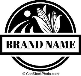 orgânica, fazenda, milho, vetorial, desenho, logotipo, círculo preto