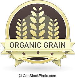 orgânica, grão, alimento, etiqueta