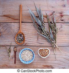 orgânica, grãos, saudável, tigela, alimento, contra, millet, rústico, experiência., cob, madeira, arroz, inteiro