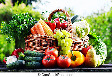 orgânica, jardim, sortido, vime, legumes, cru, cesta