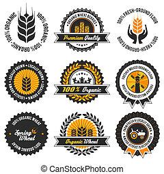 orgânica, jogo, trigo, etiqueta