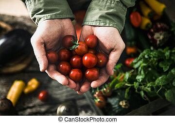 orgânica, legumes, ligado, madeira