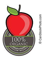 orgânica, maçã, vermelho, etiqueta