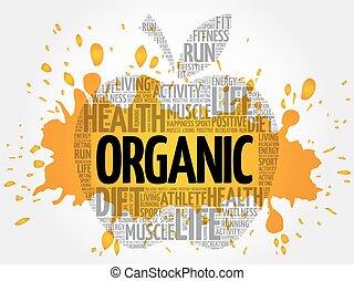 orgânica, palavra, maçã, nuvem