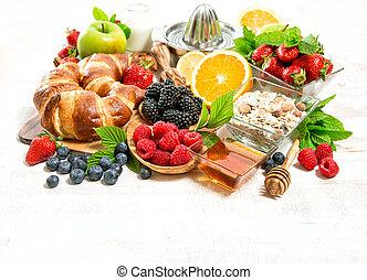 orgânica, saudável, bagas, alimento, muesli, fresco, pequeno almoço, fruits., croissants