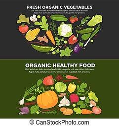 orgânica, saudável, cartaz, legumes, promocional, alimento, fresco