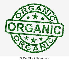 orgânica, selo, fazenda, alimento, natural, mostra