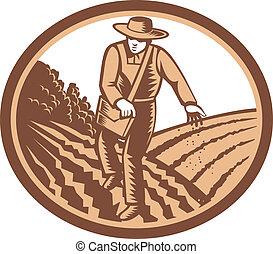 orgânica, semear, woodcut, semente, retro, agricultor