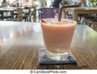 orgânica, smoothie morango, bebida, alimento., saudável, fruta